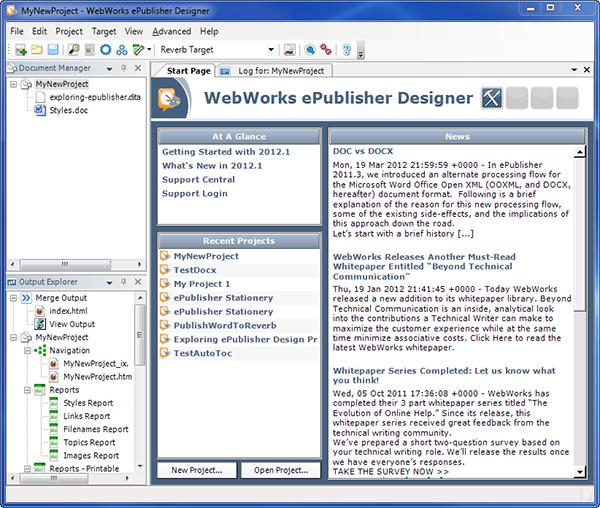ePublisher Start Page